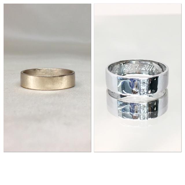 Valkokultakihlan uusi elämä. Perinteisestä flakka kihlasta uusi timanttisormus. 3 timanttia istutettiin pystyriviin.